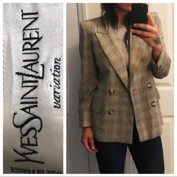 164247de24d Yves Saint Laurent Jackets & Coats | Vintage Ysl Plaid Blazer | Poshmark
